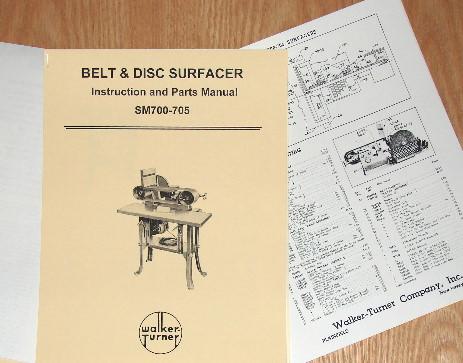 WALKER TURNER Belt\Disc Sander SM700-SM705 Operator /& Parts Manual 0752
